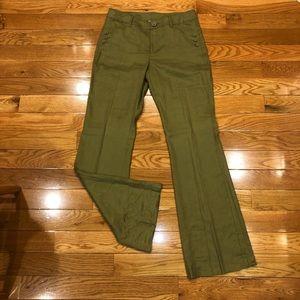 Olive green flare dress pants